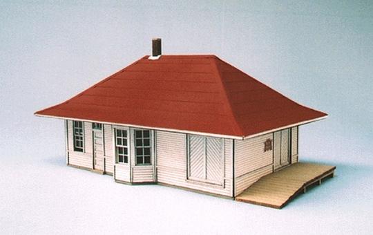 Blair Line Leeton Depot (Laser-Cut Wood Kit) -- Main Building: 3-5/16 x  5-1/2