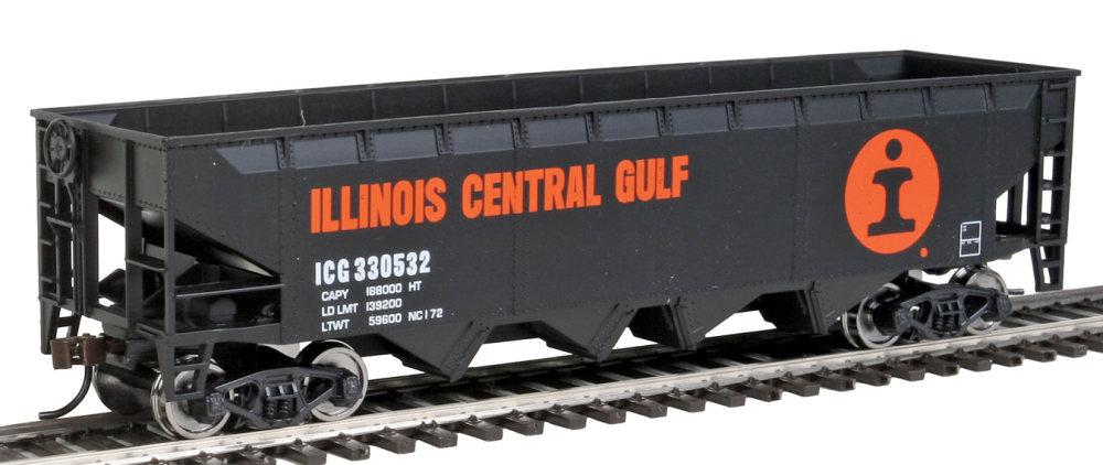 Walthers Offset Hopper - Ready to Run -- Illinois Central (orange, black, white; Large Logo)